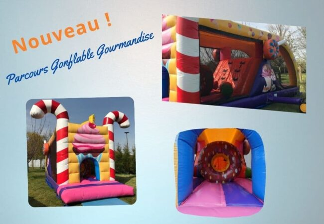 Parcours gonflable gourmandise